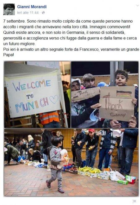 Gianni morandi ospitare i profughi in casa ci sto for Ospitare a casa