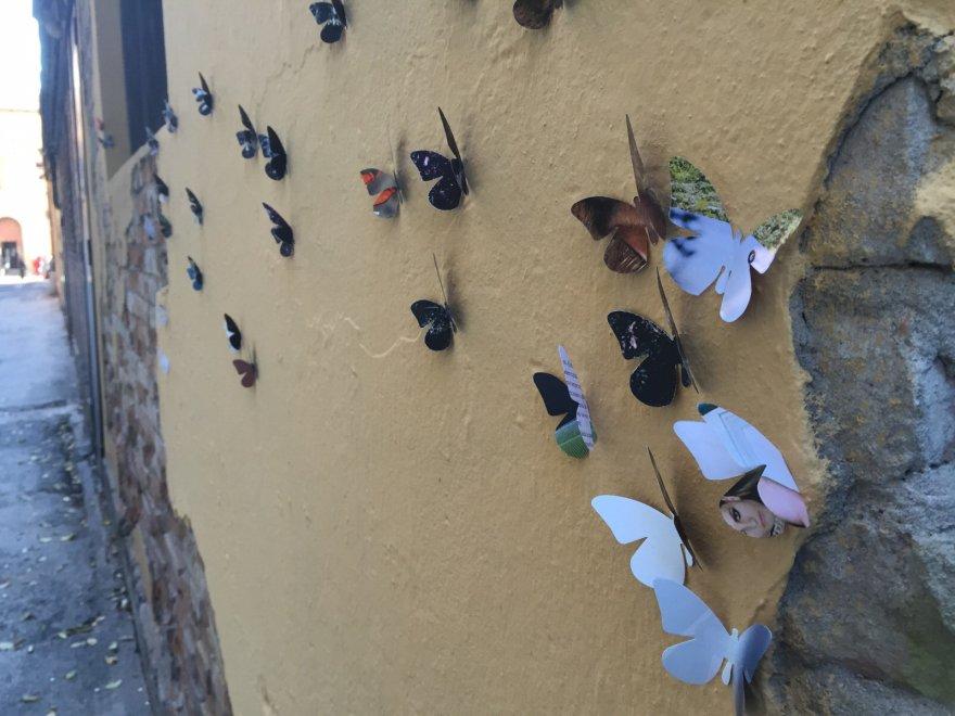Bologna, nei luoghi del degrado spuntano farfalle di carta