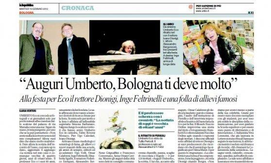 """""""Auguri Umberto, Bologna ti deve molto"""""""