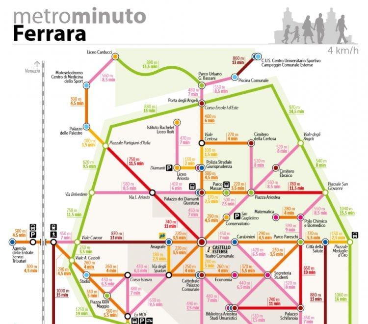Ferrara, la mappa della metro è anti-pigri: serve per spostarsi a piedi