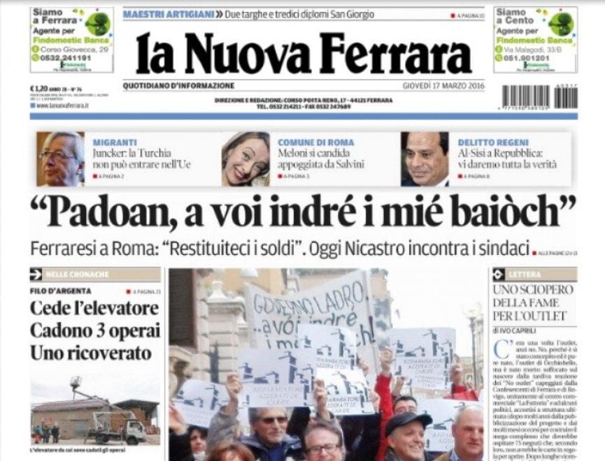 Ferrara Il Quotidiano Titola In Dialetto Ridateci I Soldi 1 Di