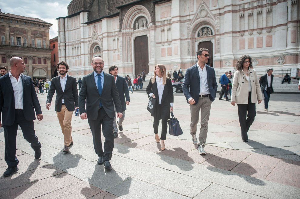 Schulz e Prodi in visita alla mostra di Hopper