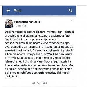 """""""Nuove leggi razziali contro islamici e negri"""". Fdi sospende Minutillo, segretario Forlì"""