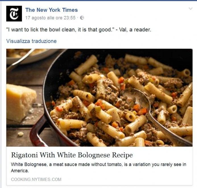 """""""Rigatoni alla White Bolognese"""" sul New York Times: e la polemica è nel piatto"""