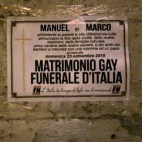Manifesti funebri di Forza nuova contro le prime unioni civili a Cesena