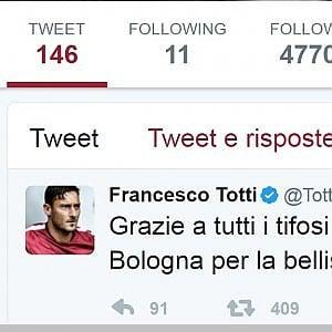 Totti ringrazia Bologna per l'ovazione del Dall'Ara