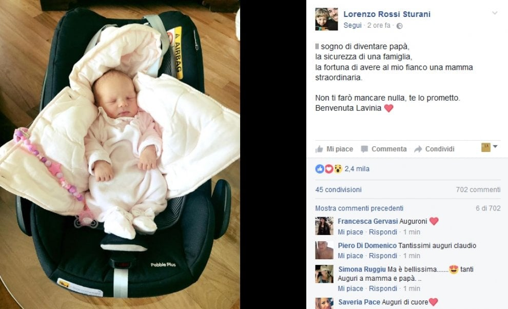 Vasco Rossi nonno: è nata Lavinia