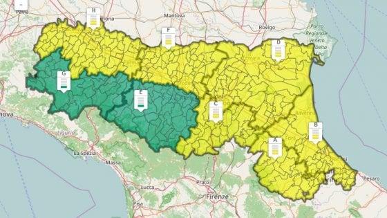 Ancora un'allerta meteo per forti temporali in Emilia-Romagna