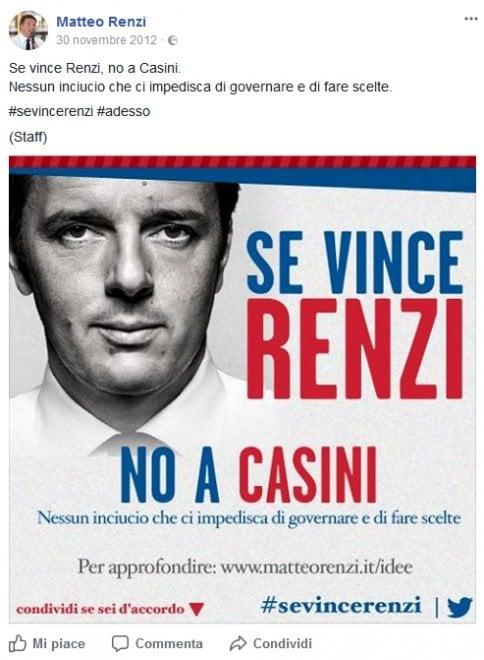 """""""Con me niente Casini"""", e su un vecchio manifesto di Renzi si scatena l'ironia"""