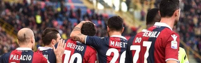 Bologna-Benevento, Destro, De Maio  e Dzemaili festeggiano capitan Verdi:  3-0