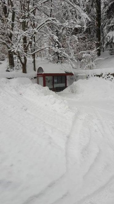 Appennino bolognese, la fermata del bus è quasi sommersa dalla neve