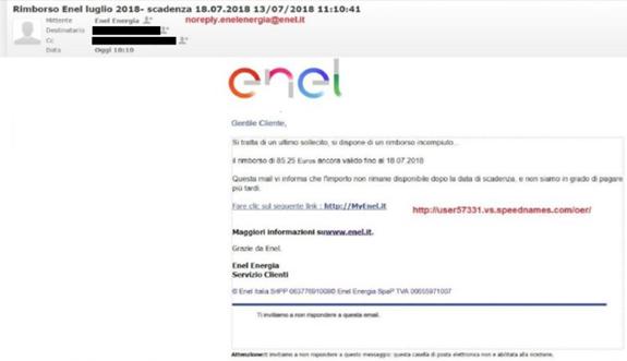 """Bologna, Enel avverte: """"Attenzione alle e-mail truffa"""""""