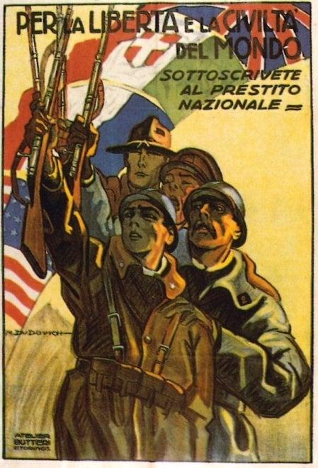 """""""Per la Patria, fate tutti il vostro dovere"""": Grande guerra, a Bologna i manifesti per il Prestito nazionale"""