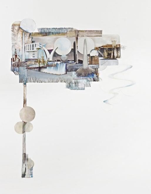 Paesaggi da collage, fra architetture e ambiente: le opere di Sergia Avveduti