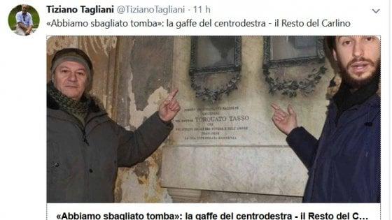 """La gaffe di Fratelli d'Italia: """"Ferrara, che incuria sulla tomba di Torquato Tasso"""". Ma è un omonimo morto tre secoli dopo"""