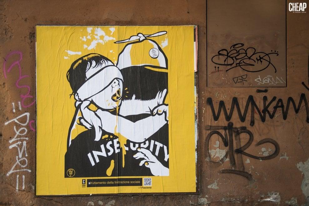 Cheap, nuova affissione di poster contro il fascismo