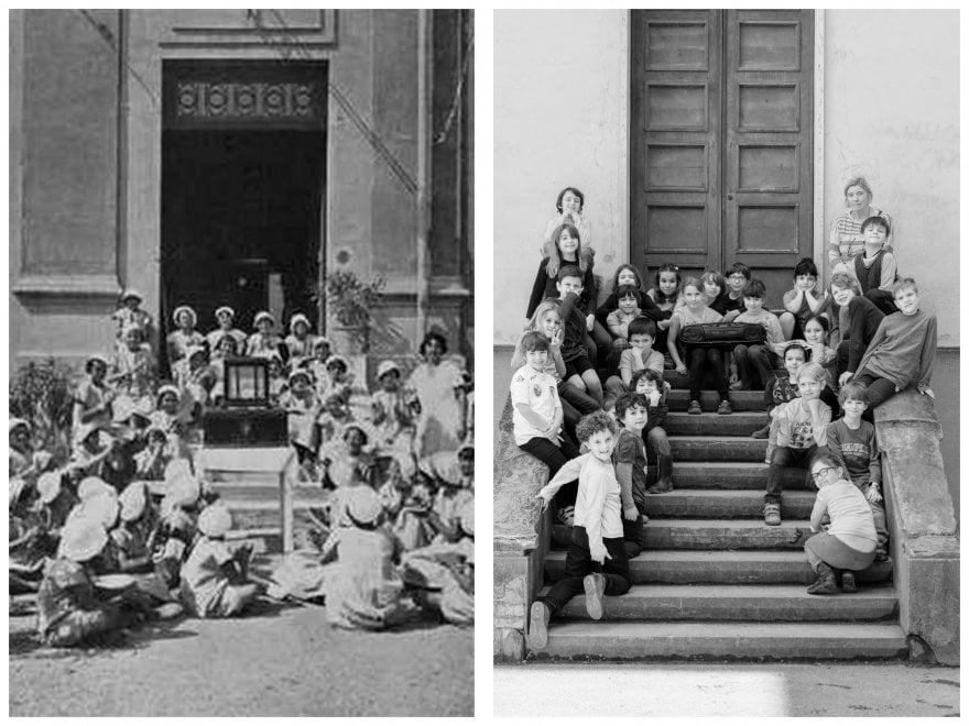 Scuola, i cento anni della primaria Longhena: le foto in posa degli alunni di ieri e di oggi