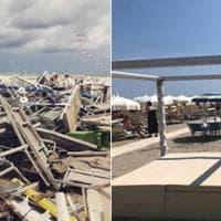 Milano Marittima: la spiaggia prima e dopo la tempesta
