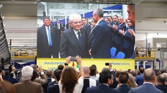 Mattarella all'interporto di Bologna inaugura il nuovo hub delle Poste