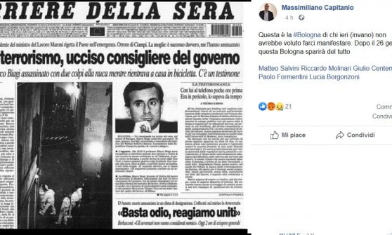 """La denuncia del Pd: """"Deputato Lega paragona la piazza pacifica di Bologna all'assassinio di Marco Biagi"""""""