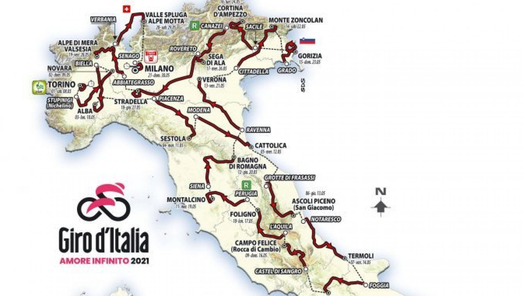 Cartina Italia Riccione.Ciclismo Il Giro D Italia Torna Sulle Strade Dell Emilia Romagna Ecco Le Tappe La Repubblica