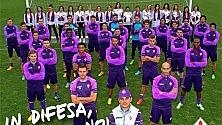 """Rossi si allena a Firenze saluta i tifosi: """"Sto bene"""" I viola contro la violenza sulle donne"""