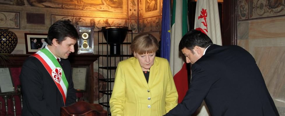 Via al bilaterale Italia-Germania: Renzi accoglie Angela Merkel a Firenze