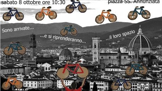 """""""Basta rimozioni di bici in ztl"""", la protesta dei ciclisti a Firenze"""