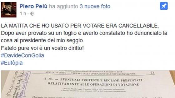 """Pelù denuncia: """"Ho votato con matita non indelebile"""""""