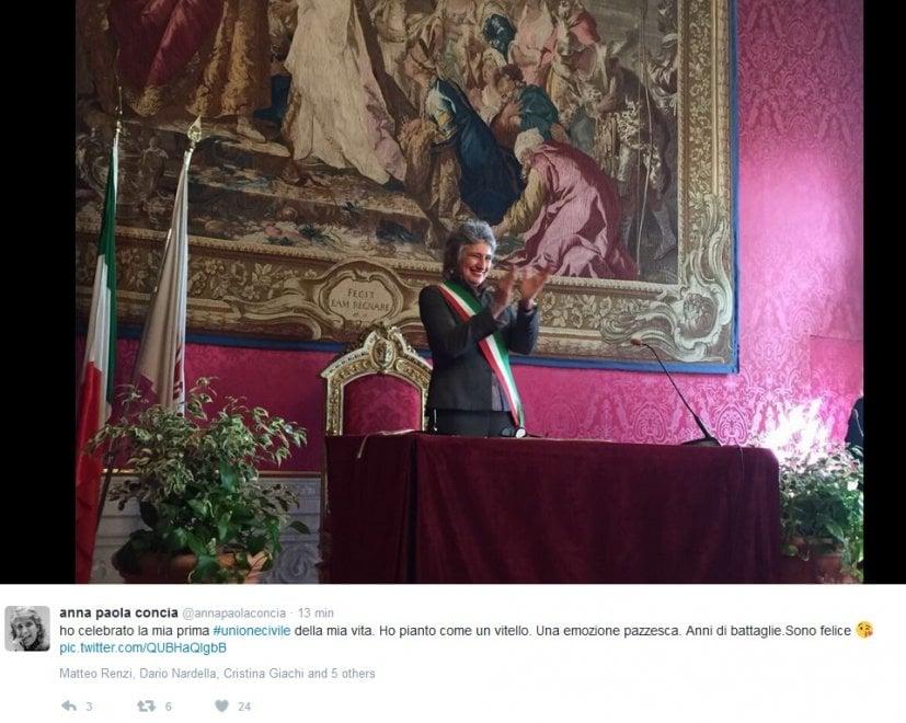 """Firenze, la prima unione civile dell'assessora Paola Concia: """"Ho pianto, coronamento di anni di battaglie"""""""