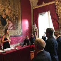 Firenze, Boschi con la fascia tricolore a Palazzo Vecchio: