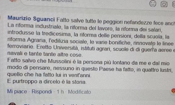 """Firenze, il presidente (Pd) del Quartiere centro: """"Nessuno in questo paese ha fatto più di Mussolini in 20 anni"""""""