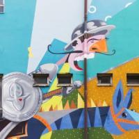 Pontedera, un eroe a colori: sul muro la Rivoluzione di Don Chisciotte