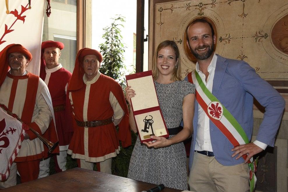 Firenze, a Carolina Kostner le chiavi della città: la cerimonia a Palazzo Vecchio