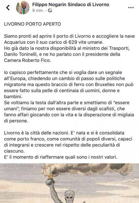 """Livorno, il sindaco Nogarin (M5s): """"Pronti ad accogliere Aquarius"""". Poi rimuove il post. Le reazioni sui social"""