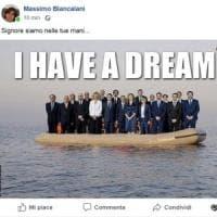 Don Biancalani pubblica su Facebook la foto del governo sul gommone: è