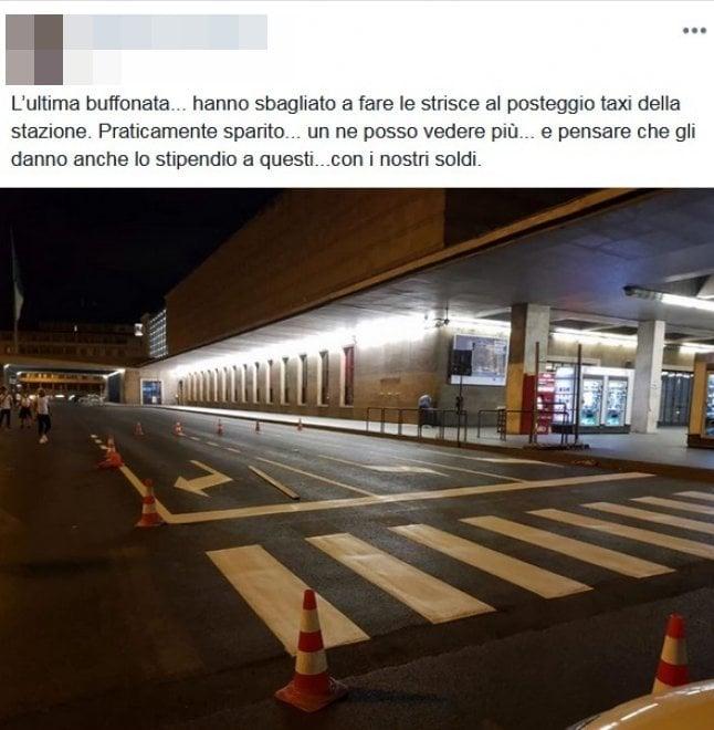 Firenze, il pasticcio delle strisce segnaletiche alla stazione