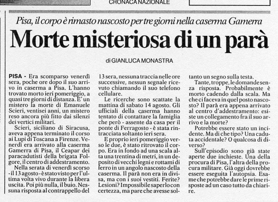 Caso Scieri, le pagine di Repubblica di quell'agosto del 1999