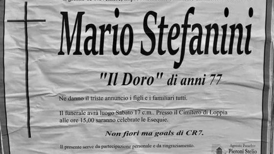 """Lucca, sul manifesto funebre fa scrivere: """"Non fiori ma gol di CR7"""""""