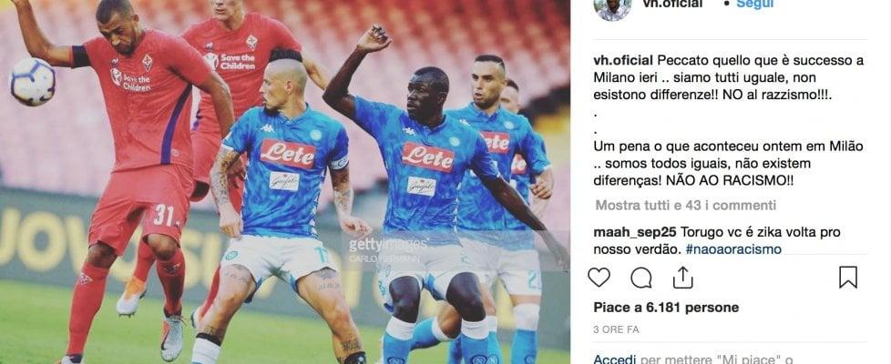 """Vitor Hugo posta la foto con Koulibaly: """"Siamo tutti uguali, non esistono differenze: NO al razzismo!"""""""