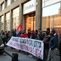 Firenze, la protesta dei magazzinieri di Zara