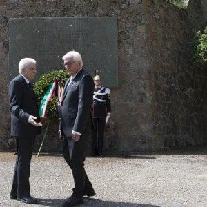 """Mattarella a Fivizzano per ricordare le stragi naziste. """"Mai più guerre"""".  Steinmeier: """"Vi chiedo perdono"""""""