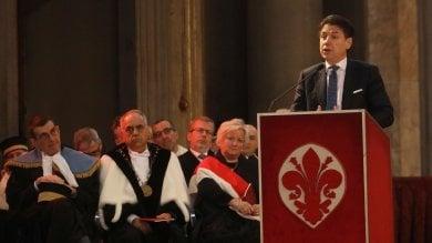 """Il premier Giuseppe Conte a Firenze:  """"Qui un museo della lingua italiana"""" -   video"""