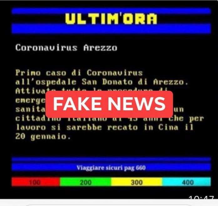 Pagina di televideo annuncia caso di coronavirus ad Arezzo, ma è un fake