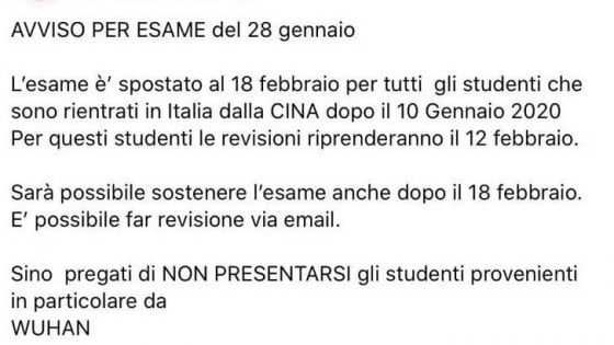 """Coronavirus, l'avviso di un prof dell'università di Firenze agli studenti rientrati dalla Cina: """"Non presentatevi all'esame"""""""