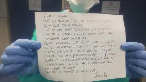 """Prato coronavirus, la dottoressa consegna in ospedale la lettera di una bambina: """"Ciao nonni, sappiate che vi aspettiamo..."""""""