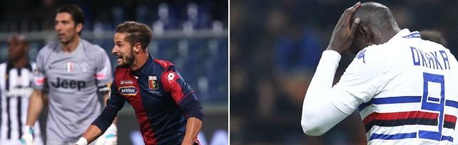 Impresa del  Grifone , Juve ko 1-0   La corsa della  Samp  si ferma con l'Inter 1-0       La fotopartita:    rossoblù   -   blucerchiati