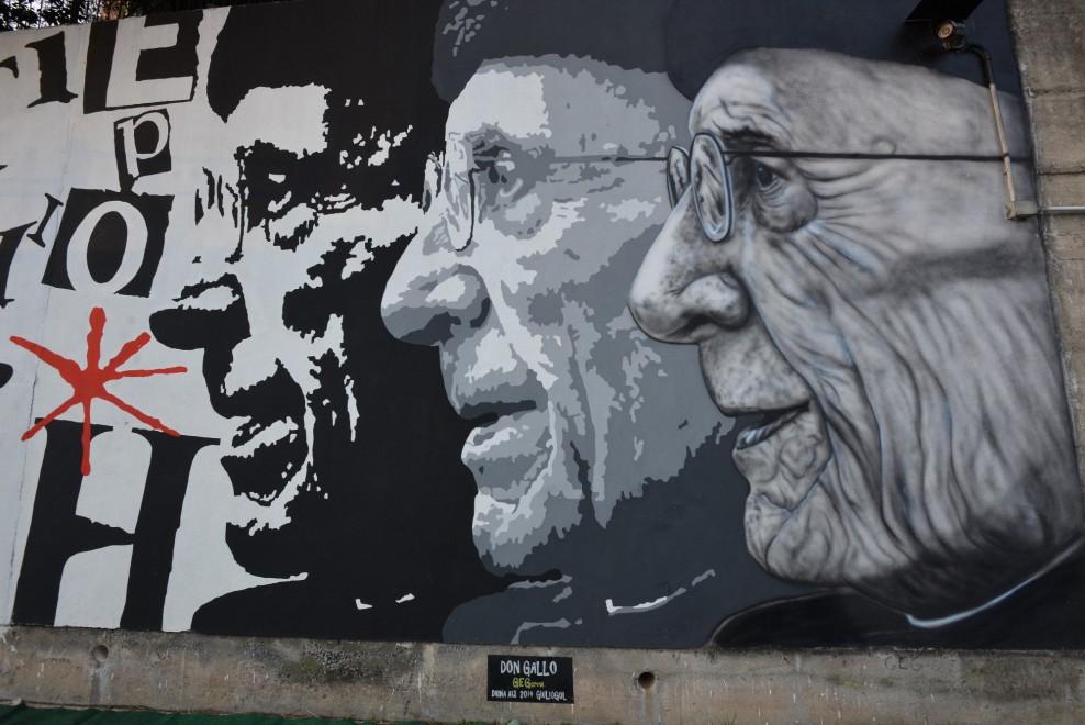 Il Cep ricorda don Gallo con un murale lungo 10 metri