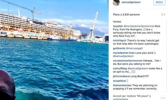 Samuel L. Jackson, pomeriggio a Genova fotografando la Concordia