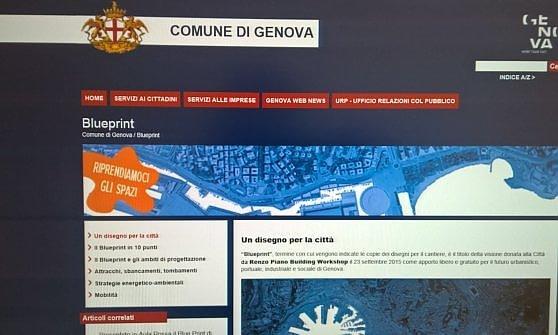 Genova con il blue print di piano boom di contatti per il for Creatore del piano del sito